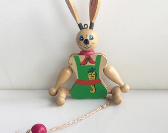 Austrian WOOD Vintage Rabbit Pull Toy