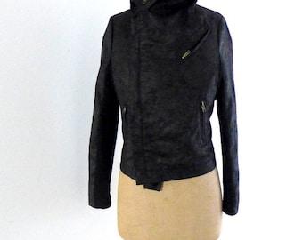 ON SALE Vintage black wool and fabric biker style moto short jacket Sz S