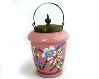 ON SALE Antique Victorian pink cased glass biscuit jar hand painted enamel flowers