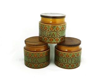 Vintage set 1970s Hornsea Bronte ceramic kitchen canisters, ceramic kitchen storage