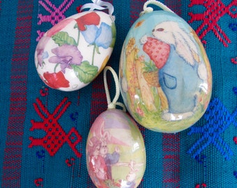 Collection of Decoupaged Easter Eggs, Paper Mache Animal Scenes, Bunnies, Butterflies