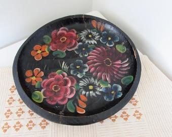 Mexican Hand Painted Folk Art Batea Bowl Platter
