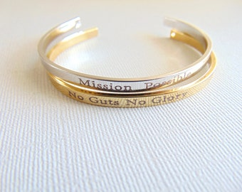 Personalized Cuff Bracelet, Gold / silver bangle, custom text layered bracelet, Secret message cuff, Hand stamped quote Mantra band Bracelet