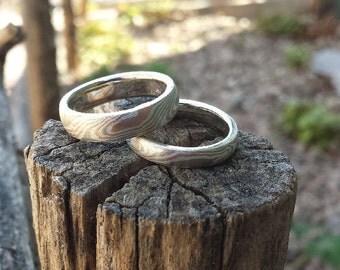 Tri Color Mokume Gane Wedding Bands Two Ring Set