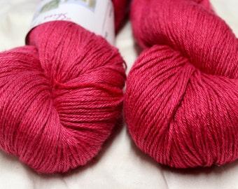 Merino & Silk 4 ply hand dyed red