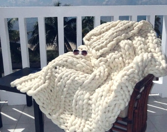 "Chunky Giant Blanket, 34x58"" Throw, Knit Blanket, Chunky Throw,"