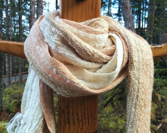 Creamy White and Pale Peach Handwoven Scarf
