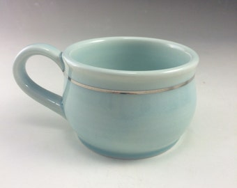 Ice Blue and Gold Luster Decal Wheel Thrown Porcelain Coffee Tea Mug