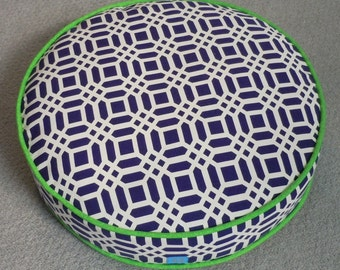 Round Cat Bed in Navy Blue Geometric Fabric with Mottled Green Piping