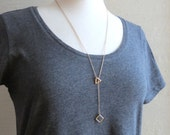 Scala - Tiny Geometric Y Necklace Gold Tone Triangle and Square Tiny Geo Pendants in Lariat Style