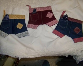 Pants with handkerchief in pocket;  pot holder or hot pad; nice and thick