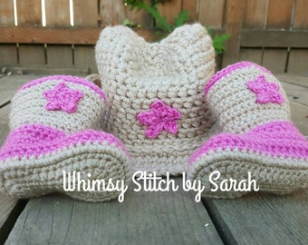 Crochet Cowgirl Hat and Boots Set --Newborn-12 months--Made to order