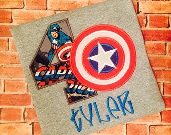 Captain America Inspired Birthday Shirt