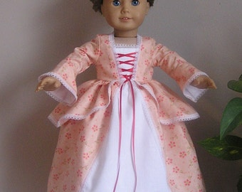 Colonial Soft Tangerine Calico Cotton Dress and Pinner Cap for AG or  18 Inch Doll
