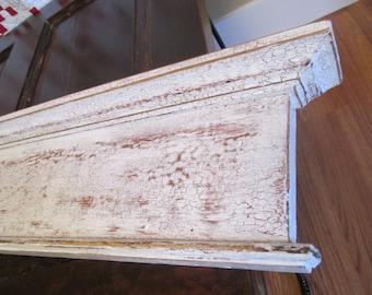 Antique Distressed Door Header Moulding, Mantel Shelf, Skinny Shelf, Wood Trim