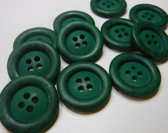 10 Grasshopper Green Swirl Rim Large Round Buttons Size 3/4""