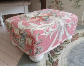 vintage shabby chic bark cloth barkcloth pink rose ottoman foot stool