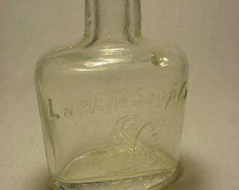 c1890s Larkin Soap Co. Buffalo, N.Y. Tooth Powder Bottle, Cork Top Dentist Dental Bottle No. 8
