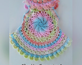 Crochet Circular Toddler Vest-Baby Jacket Vest-Toddler Crocheted Shawl-Lacy Crocheted Vest-Toddler Cardigan