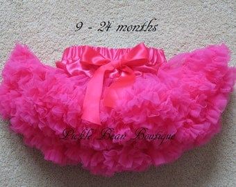 Hot Pink Pettiskirt - 0-2 years Ready To Ship - 1st Birthday Tutu - Girls Petti Skirt Tutu Toddler Easter - Baby Girl 1st Birthday Outfit
