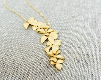 Elongated Gold Wild Orchid Flower Necklace, 14K Gold Filled Chain, Gift for Her