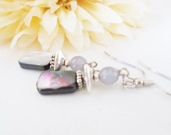 Gray Earrings, Silver Shell Earrings, Mother of Pearl, Gray Shell Jewelry, Natural Jewelry, Handmade Earrings, Silver Gray Beaded Jewelry