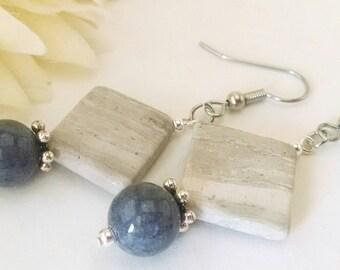 Gray Stone Earrings, Beaded Earrings, Dark Gray Drop Earrings, Statement Bohemian Dangle Earrings Boho Clip Ons, Gift for Her, Daughter Gift