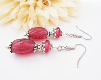 Pink Boho Jewelry, Rose Pink Bridesmaids Earrings Gift for Her, Dark Pink Dangle Earring, Wedding Jewelry, Pink Glass Drop Earrings, Clip On