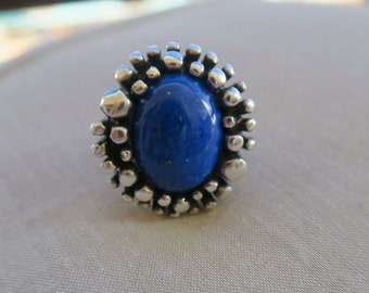Statement Lapis lazuli sterling silver ring