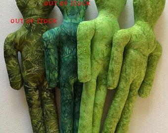 Reiki Distance Healing Doll - Green Batik