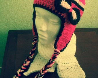 Beanie with earflaps and Bow pink,black and baby pink.