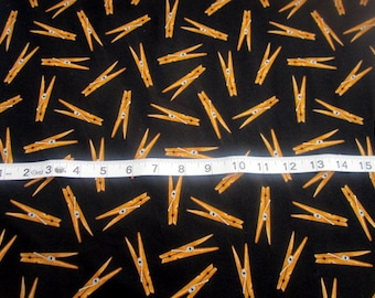 Everyday Favorites Clothespins Toss on Black premium Cotton Fabric from Mary Lake Thompson for Robert Kaufman fabrics