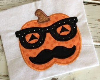 Pumpkin Glasses Mustache Halloween Applique Embroidery Design 5x7 6x10 8x12