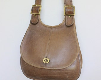 Vintage Coach Bag // Coach Crescent Saddle Bag RARE // Cashin NYC Hippie Purse Handbag