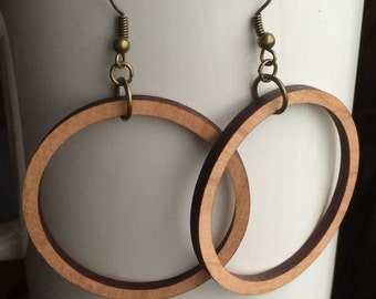 Wood Hoop Earrings Cherry Laser Cut Earrings Joanna Gaines HGTV Wood Inspired Hoops Wood Earrings