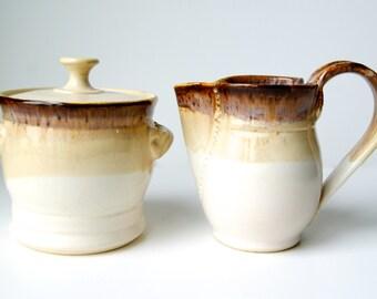 Cream and Sugar Set, Sugar Bowl, Creamer, Sugar and Creamer Set, Handmade Wheel Thrown pottery