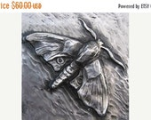 Spring Sale 10% Moth Bas Relief Sculpture Plaque in fine silver pewter