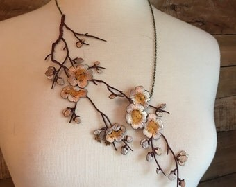Cherry blossom lace statement necklace, floral necklace, bub necklace, white, ivory, oriental, spring, embroidered lace, colored lace