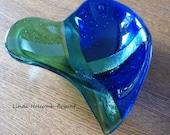 Blue Green Iridescent Heart Bowl