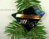 SALE Fused Glass Barrette of Dark Aqua 3 inches in width 1 1/2 inch clasp