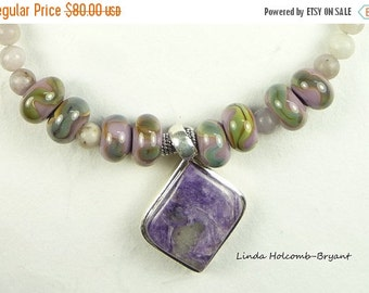 ON SALE Necklace of Purple And Silver