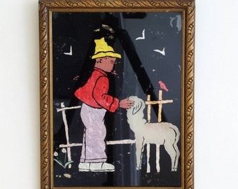 Vintage 40s/50s verre églomisé painting made from thinfoil behind glass boy with lamb