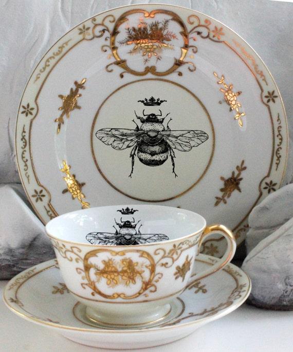 Vintage Queen Bee Tea Trio Bee Plate Trio Bee Dish Customizable Bee & Vintage Queen Bee Tea Trio Bee Plate Trio Bee Dish Bee