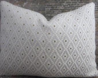 Designer Pillow Cover - Lumbar, 16 x 16, 18 x 18, 20 x 20, 22 x 22 - Alfie Diamond Ivory