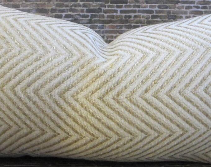 Deisgner Pillow Cover - 12 x 16 Herringbone Ivory