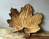 Maple Leaf Dish - Ceramic Maple Leaf Plate - Handmade Pottery Maple Leaf Plate - Yellow Leaf Dish