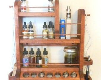 Wall mount e-cigarette organizer, e-vape organizer, juice and accessory rack, e-juice rack, e-cig and accessory holder - Large size