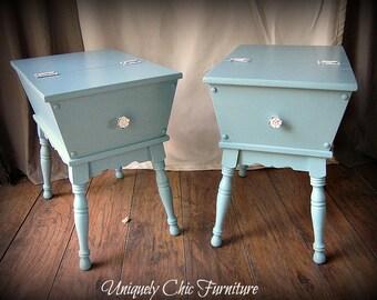 Cottage Blue Nightstand Side Table~Coastal~Beach House