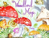 Woodland Magic, 37 Watercolor separate elements, autumn, leaves, fairytale, floral, halloween, harvest, thanksgiving, mushrooms, woodland