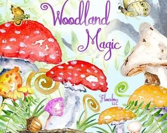 Woodland clipart, mushroom clipart, fairy tale clipart, forest clipart, fern clipart, thanksgiving, harvest, fall clipart,watercolor clipart